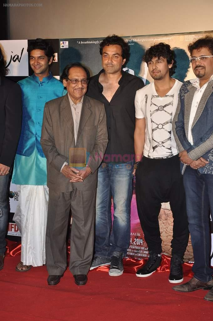 Mukul Dev, Purab Kohli, Bobby Deol, Ghulam Ali, Sonu Nigam, Bikram Ghosh at the First look & theatrical trailer launch of Jal in Cinemax on 25th Feb 2014