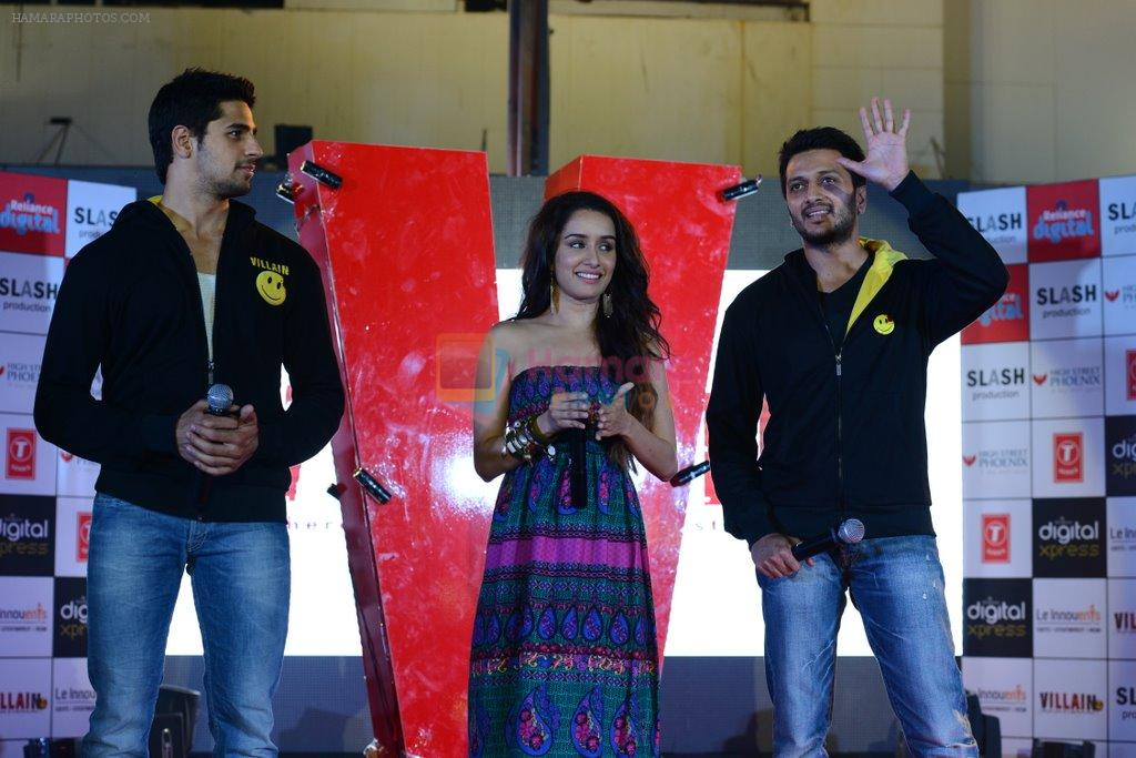 Sidharth Malhotra, Shraddha Kapoor, Riteish Deshmukh at Ek Villian music concert in Mumbai on 4th June 2014