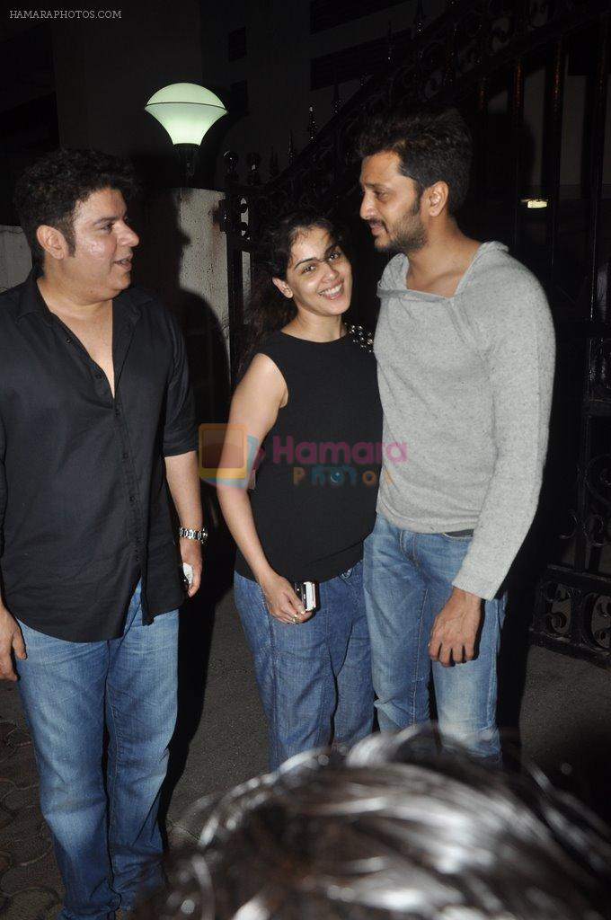 Rietesh Deshmukh and Genelia D'souza, Sajid Khan at Humshakals screening on 21st June 2014