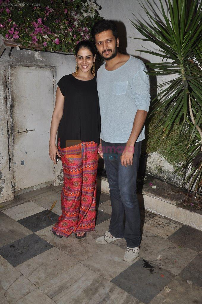 Riteish Deshmukh, Genelia D Souza at Ek Villain success bash in Bandra, Mumbai on 5th July 2014