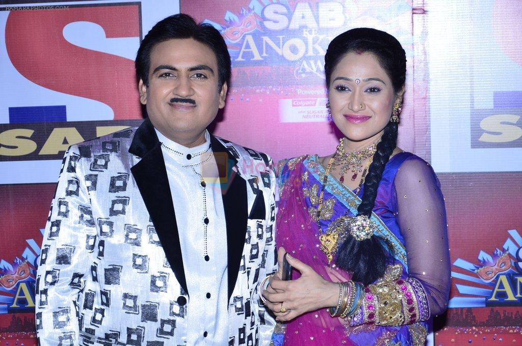 Dilip Joshi, Disha Vakani at SAB Ke anokhe awards in Filmcity on 12th Aug 2014