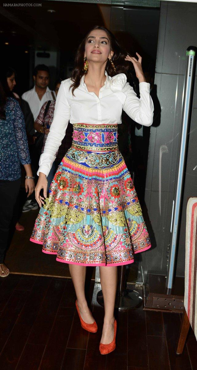Sonam Kapoor  in Manish Arora dress  at Khoobsurat promotions at Vasant Kunj, Delhi on 15th Sept 2014