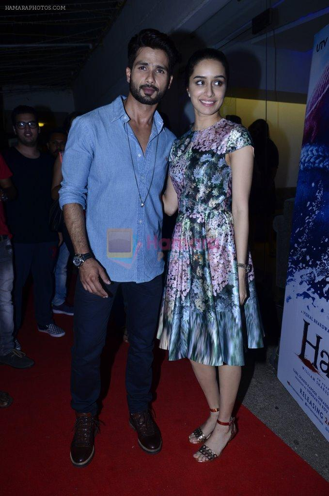 Shraddha Kapoor, Shahid Kapoor at Haider screening in Sunny Super Sound on 30th Sept 2014
