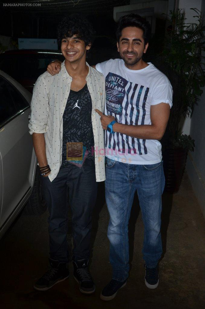 Ayushman Khurana, Ishaan Khattar at Haider screening in Sunny Super Sound on 30th Sept 2014