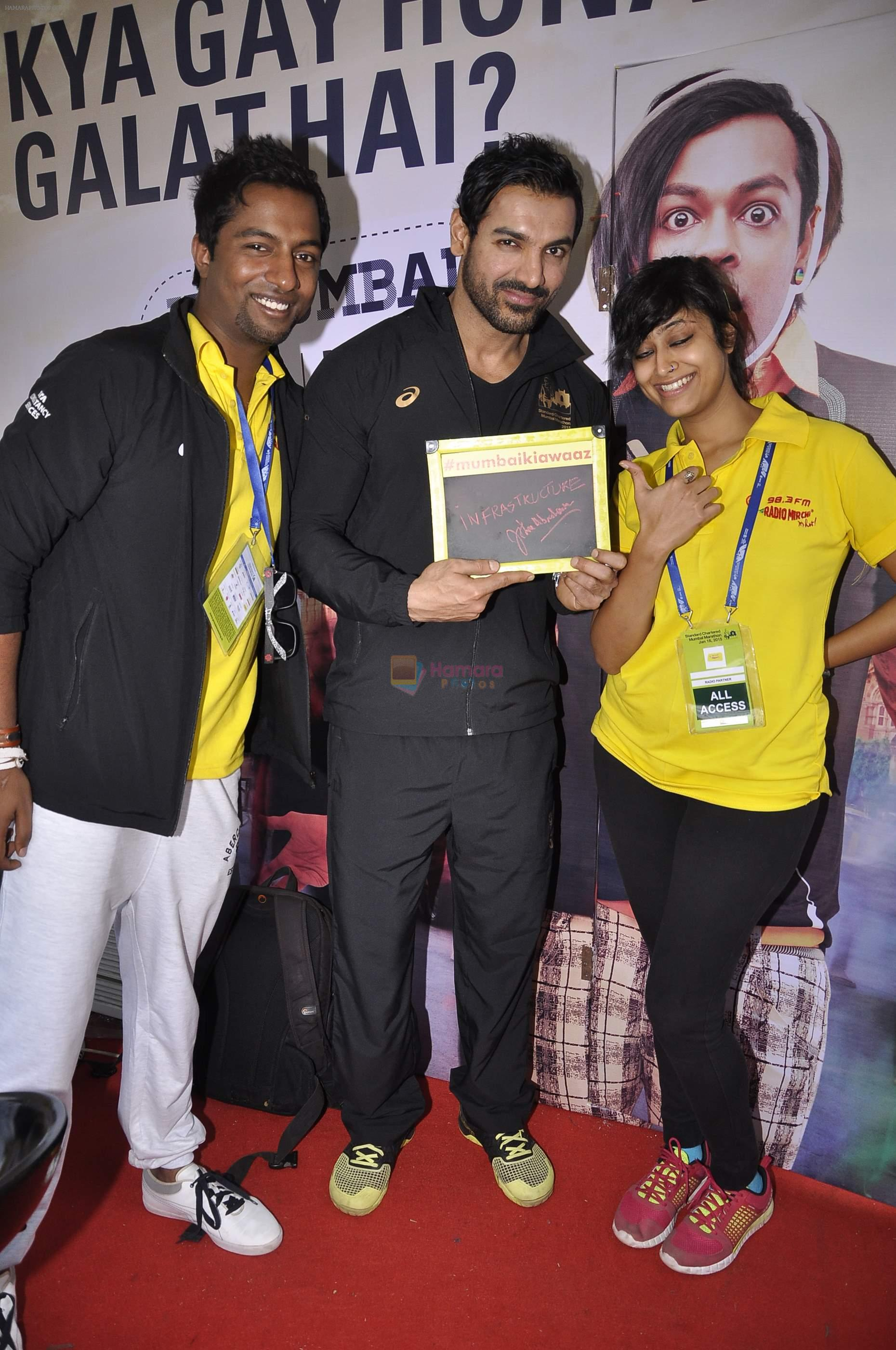 John Abraham at Radio Mirchi booth during Mumbai Marathon in 18th Jan 2015