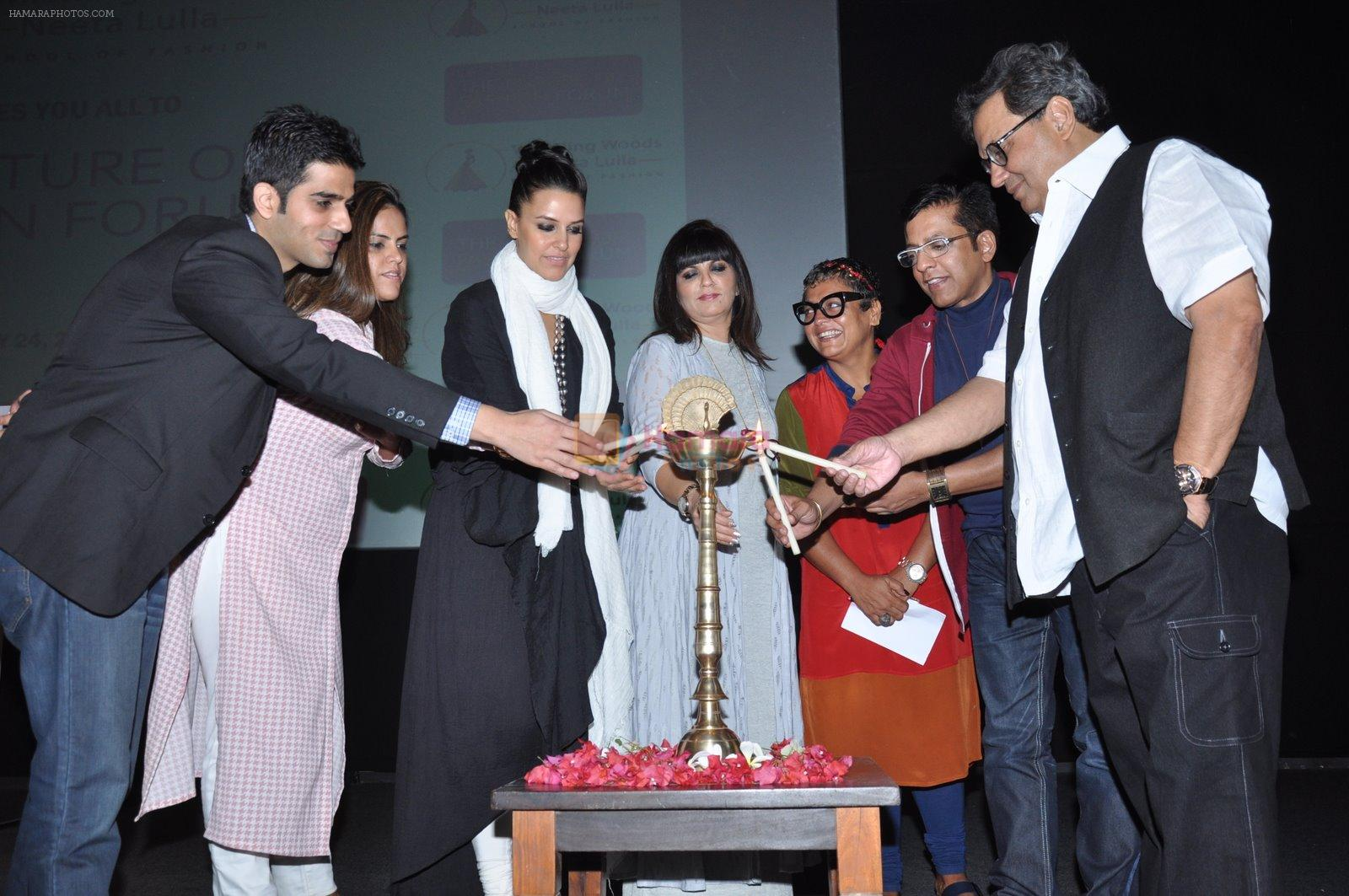 Neha Dhupia, Subhash Ghai, Neeta Lulla at Whistling Woods in Mumbai on 24th Jan 2015