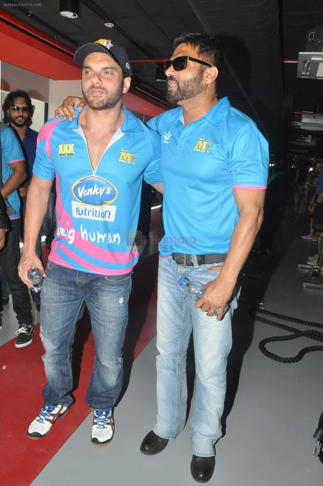 Sunil Shetty, Sohail Khan launches Core Fitness Station at Daspalla in Mumbai on 30th Jan 2015