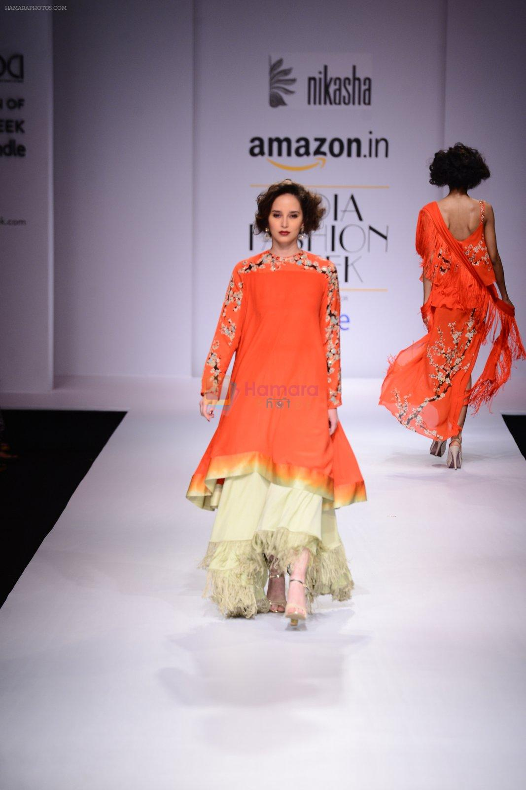 Model walk the ramp for Nikasha on day 1 of Amazon India Fashion Week on 25th March 2015