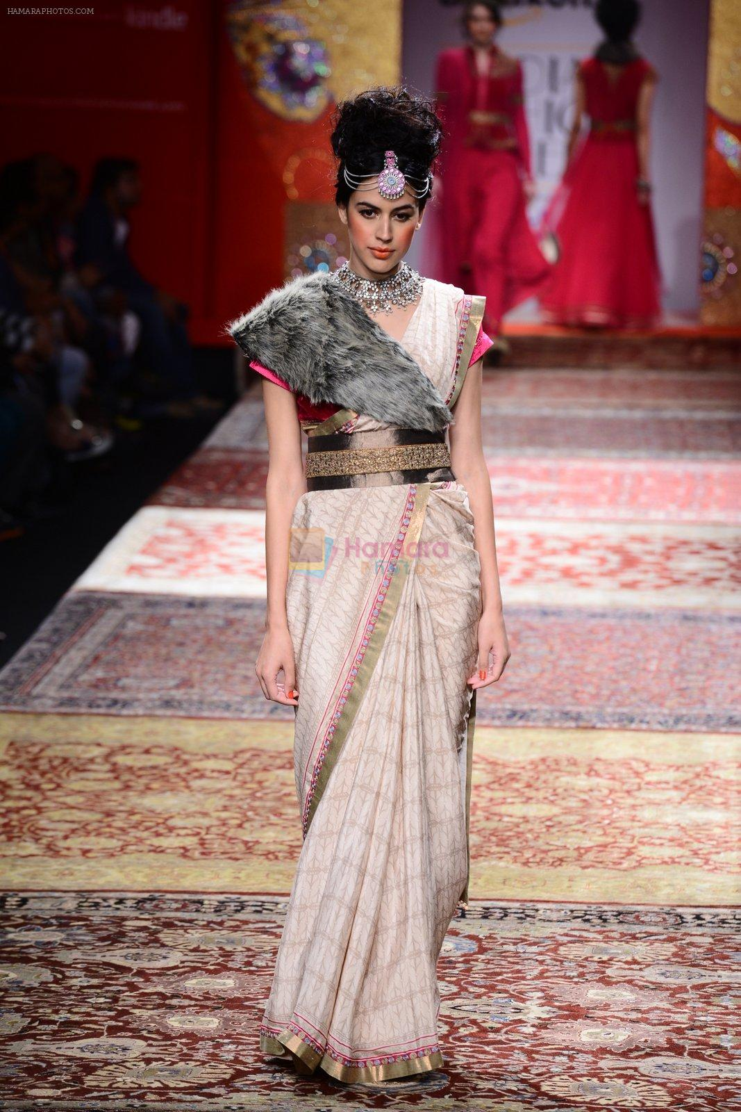 Model walk the ramp for JJ Valaya on day 1 of Amazon India Fashion Week on 25th March 2015