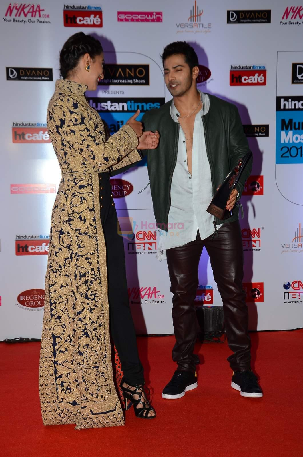 Gauhar Khan, Varun Dhawan at HT Mumbai's Most Stylish Awards 2015 in Mumbai on 26th March 2015