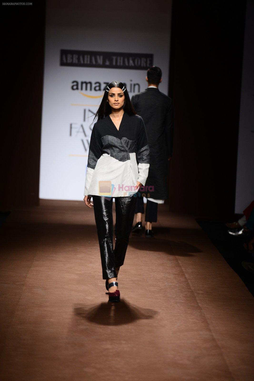 Model walk the ramp for Abraham Thakore on day 2 of Amazon India Fashion Week on 26th March 2015