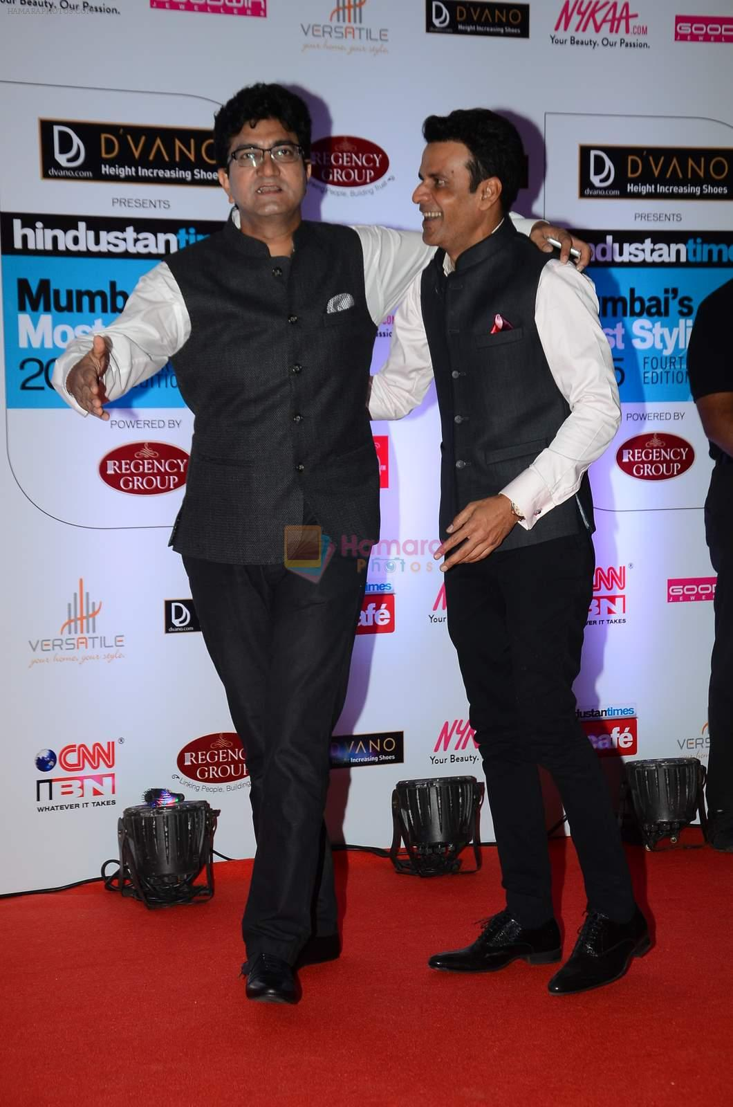 Parsoon Joshi, Manoj Bajpai at HT Mumbai's Most Stylish Awards 2015 in Mumbai on 26th March 2015