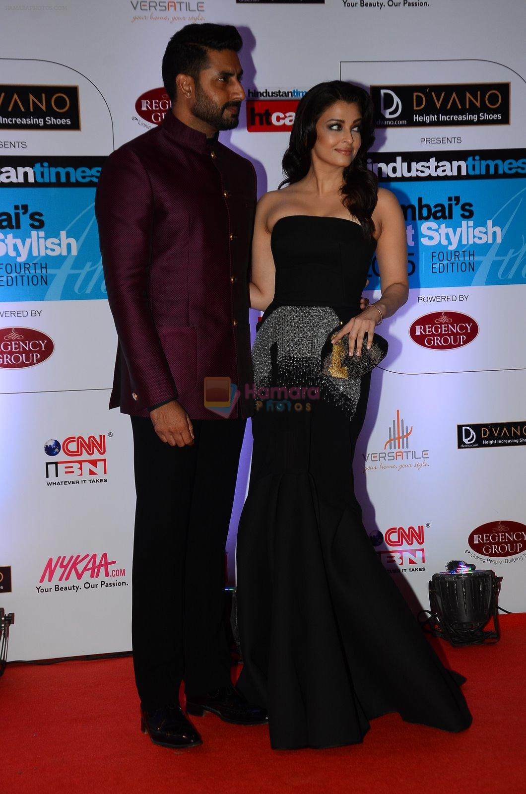 Abhishek Bachchan, Aishwarya Rai Bachchan at HT Mumbai's Most Stylish Awards 2015 in Mumbai on 26th March 2015