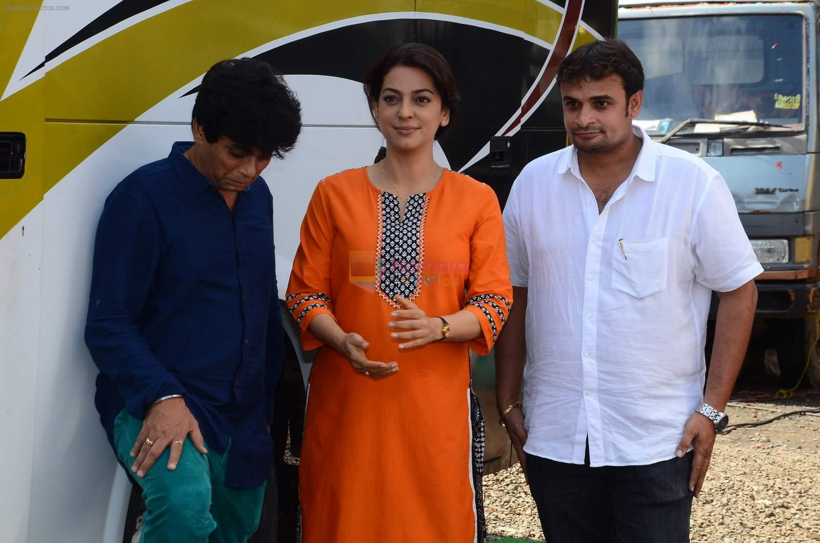 Juhi Chawla snapped on the sets of her new movie on 17th