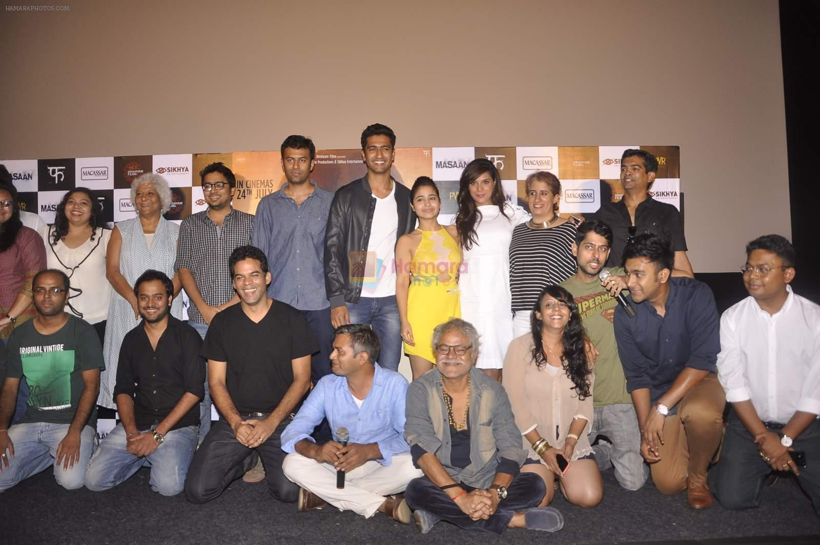 Richa Chadda, Sanjay Mishra,  Neeraj Ghaywan, Vicky Kaushal, Shweta Tripathi, Vikas Bahl, Vikramaditya Motwane at Masan trilor launch in Mumbai on 26th June 2015