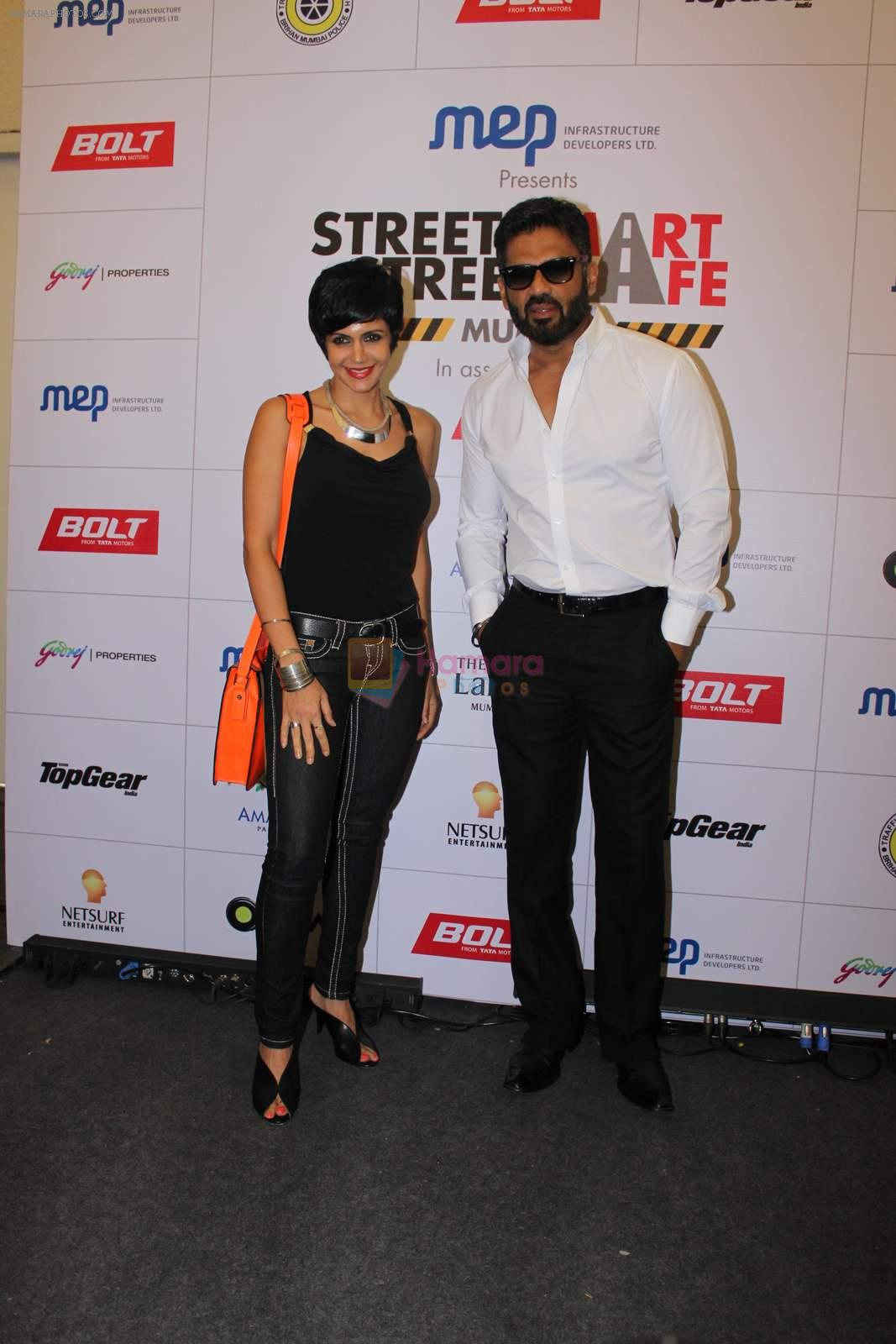 Mandira Bedi, Sunil Shetty at streetsmart street safe campaign launch by top gear magazine and mumbai police on  30th June 2015