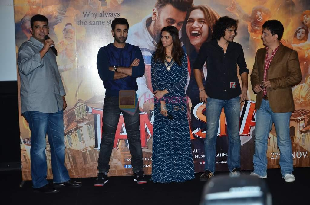Deepika Padukone, Ranbir Kapoor, Siddharth roy kapur, Imtiaz Ali, Sajid Nadiadwala at Tamasha trailor launch in Mumbai on 22nd Sept 2015
