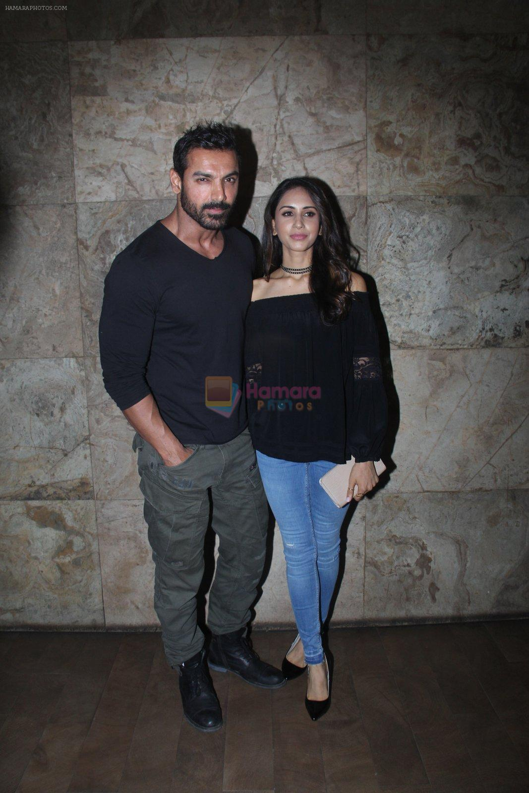 John Abraham with Priya Runchal at Dishoom screening in yashraj, Mumbai on 28th July 2016