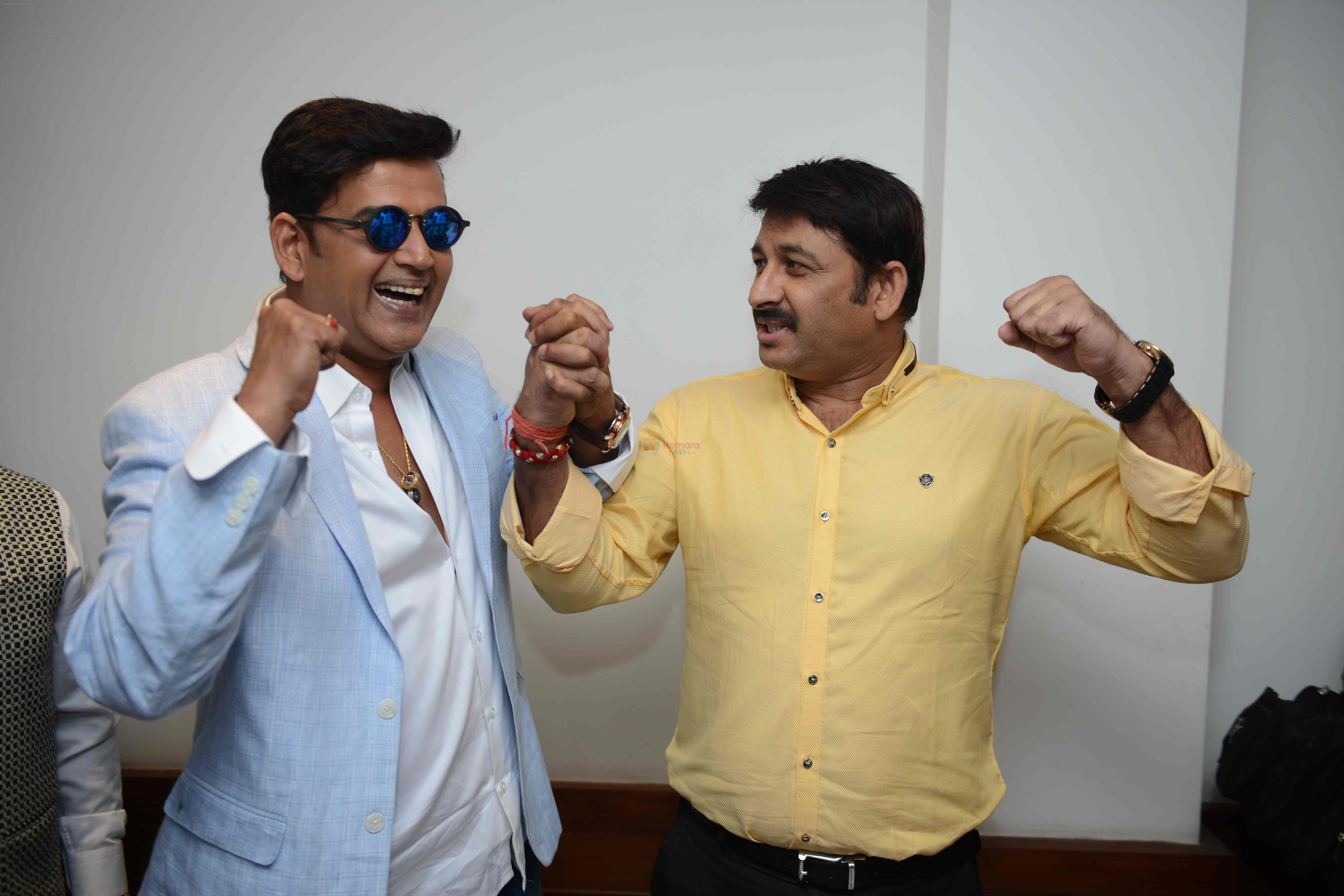 Ravi Kishan, Manoj Tiwari during the Press confrence of Luv Kush biggest Ram Leela at Constitutional Club, Rafi Marg in New Delhi on 31st July 2016
