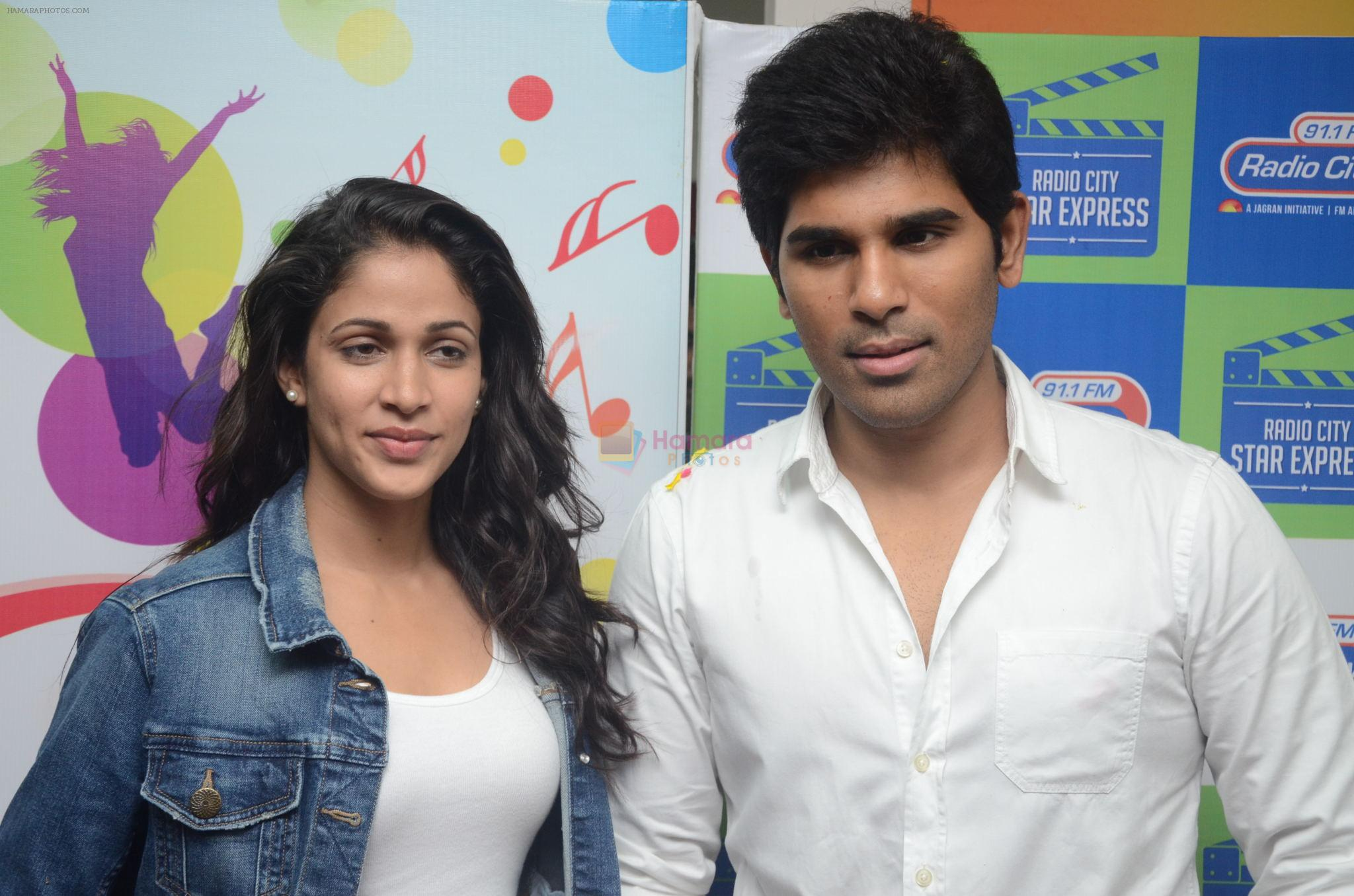 Allu Sirish and Lavanya Tripathi during the promotion of Telugu movie Srirastu Subhamastu at Radio City on 2nd August 2016
