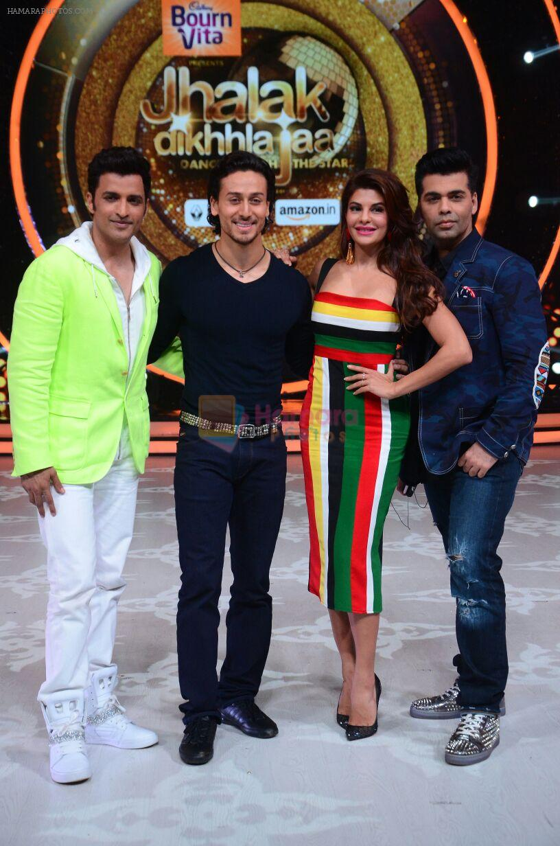 Ganesh Hegde, Tiger Shroff, Jacqueline Fernandez and Karan Johar during the promotion of film A Flying Jatt on the sets of reality dance show Jhalak Dikhhla Jaa season 9 in Mumbai, India on A