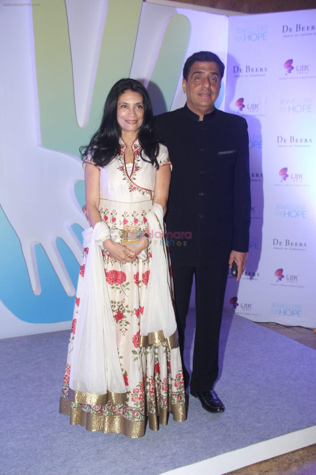 Ronnie Screwvala along with his wife Zarina Mehta during Jewellers for Hope Charity Dinner event in Mumbai, India on August 4, 2016