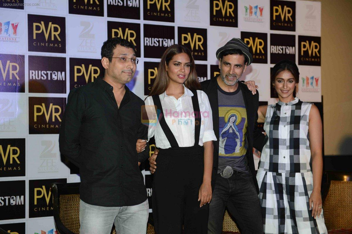 Akshay Kumar, Ileana D_Cruz, Esha Gupta, Tinu Suresh Desai at the Press Conference of Rustom in New Delhi on 8th Aug 2016
