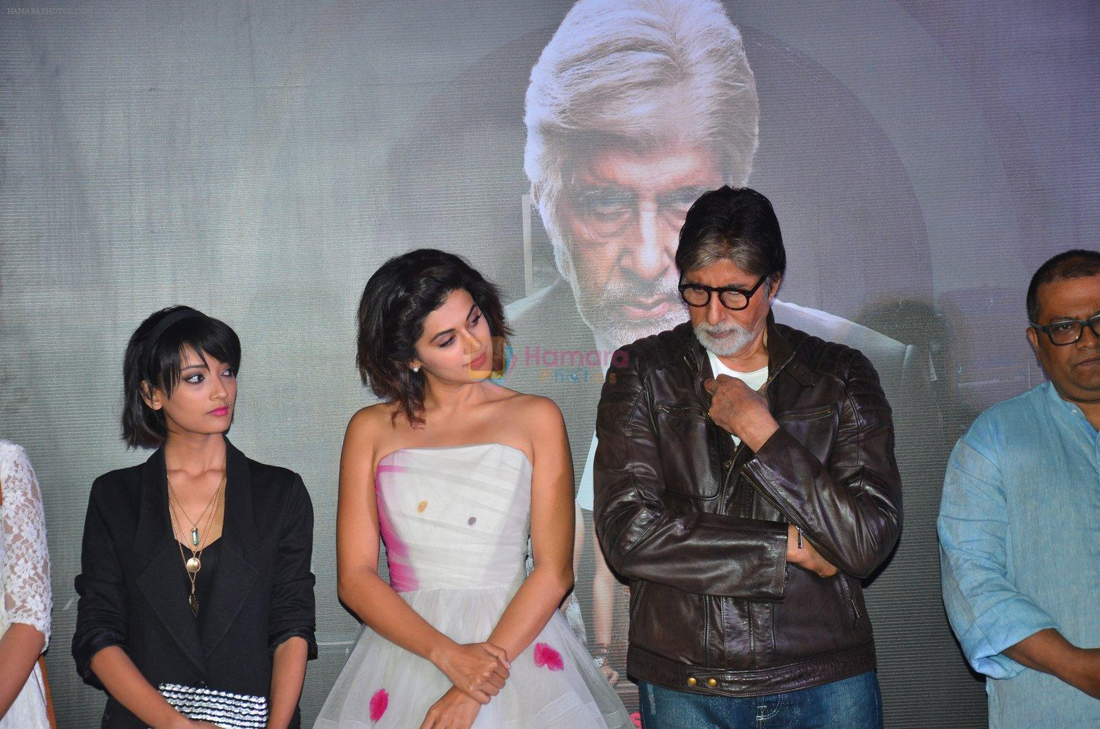 Andrea Tariang, Amitabh Bachchan, Taapsee Pannu at Pink trailer launch in Mumbai on 9th Aug 2016