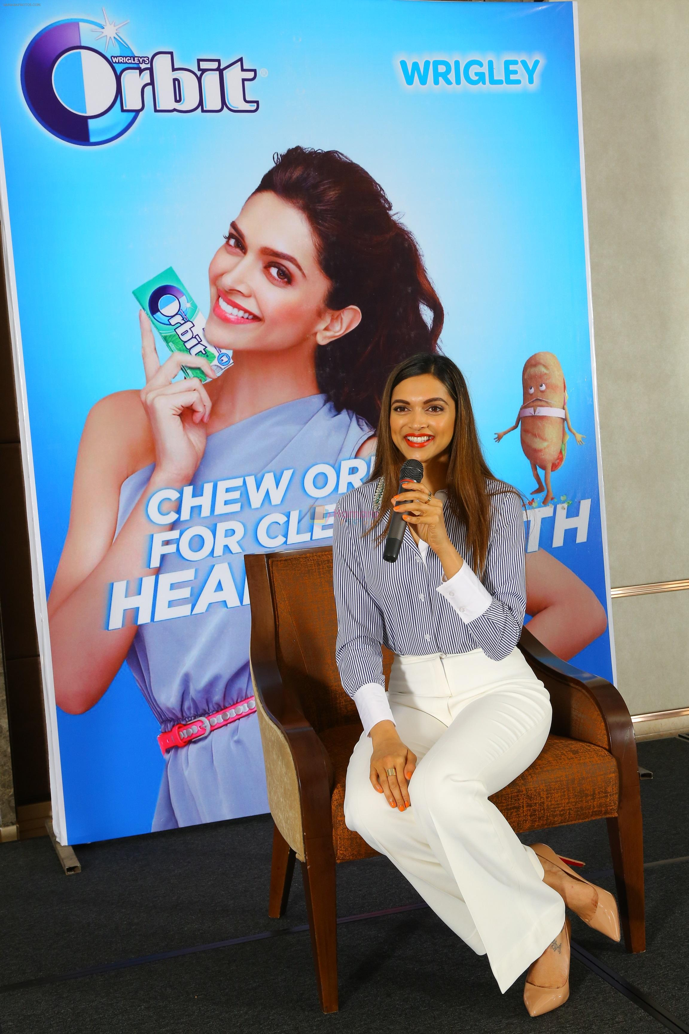 Deepika Padukone, brand ambassador of India�s no.1 sugar free chewing gum Orbit talking to her fans from Wrigley India in Bangalore about her secrets to a lovely smile and oral health on August 5, 2016
