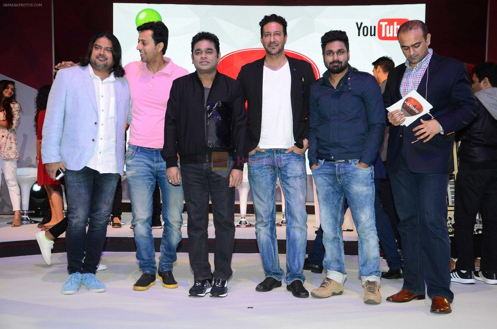 A R Rahman, Salim Merchant, Sulaiman Merchant at the launch of Qyuki's Jammin on 10th Aug 2016