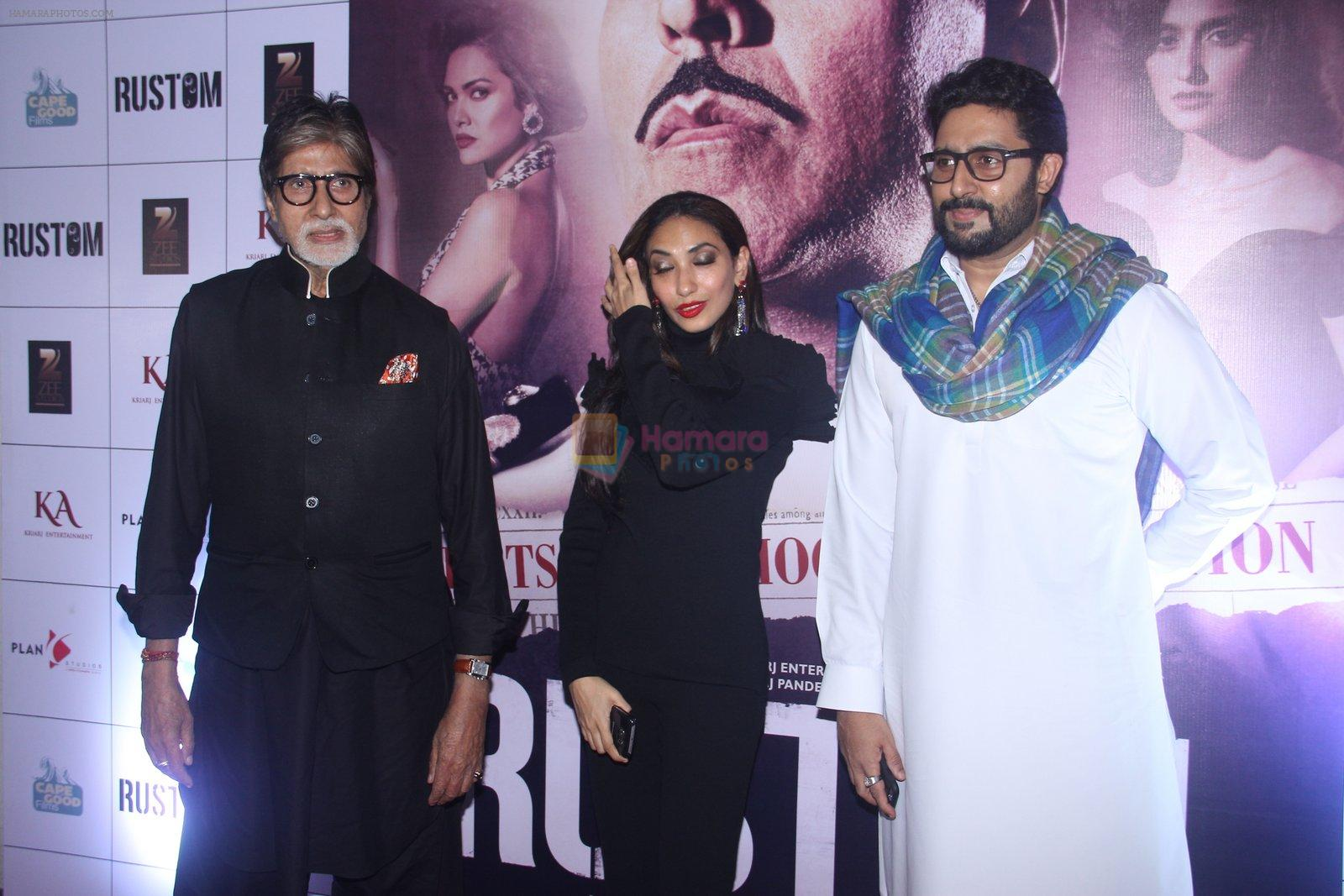 Amitabh Bachchan, Abhishek Bachchan at Rustom screening in Sunny Super Sound on 11th Aug 2016