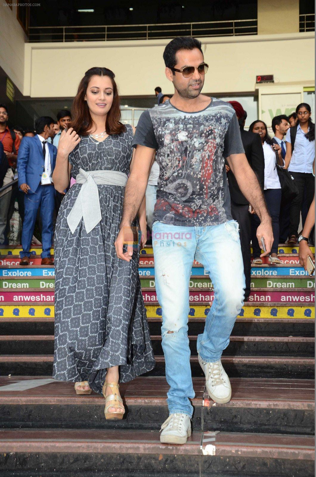Dia Mirza and Abhay Deol sanpped at Welingkar college on 12th Aug 2016