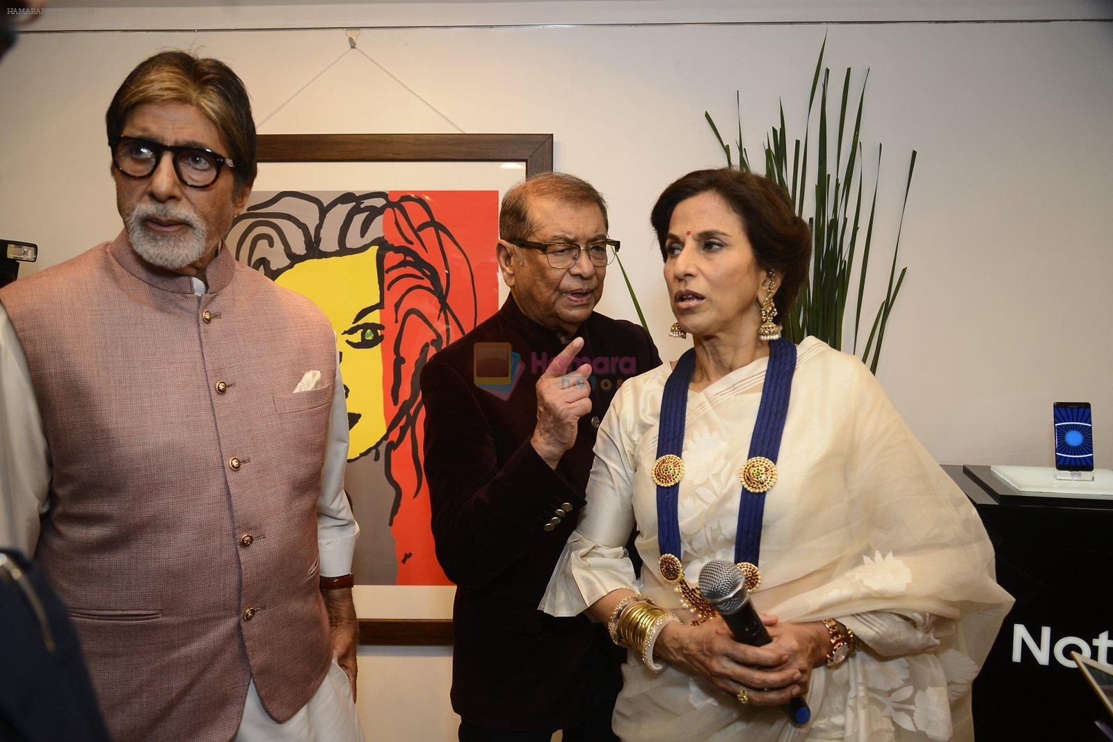 Amitabh Bachchan, Shobha De at Dilip De's art event on 16th Aug 2016