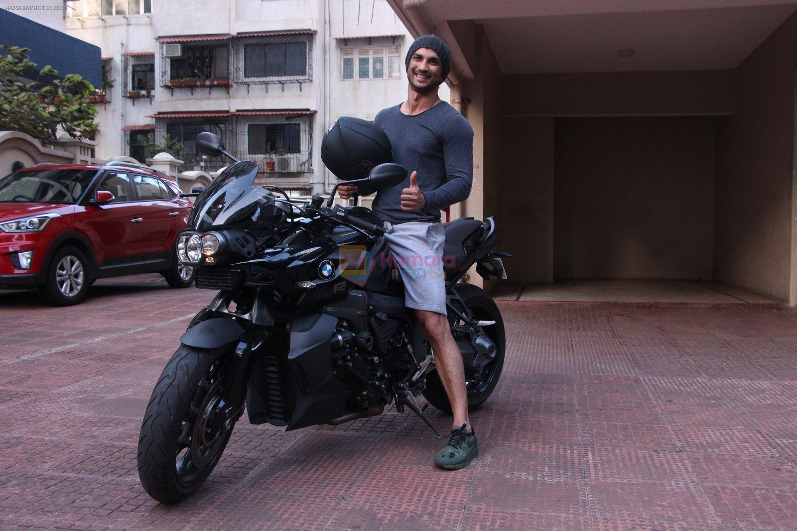 Sushant Singh Rajput snapped on his BMW bike on 21st Aug 2016