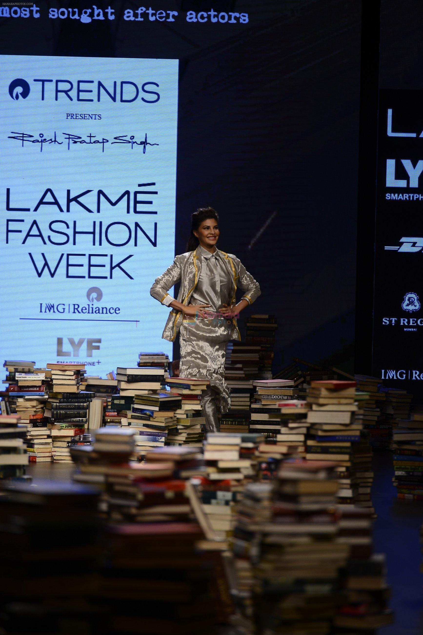 Jacqueline Fernandez walk the ramp for Rajesh Pratap Singh Show at Lakme Fashion Week 2016 on 27th Aug 2016
