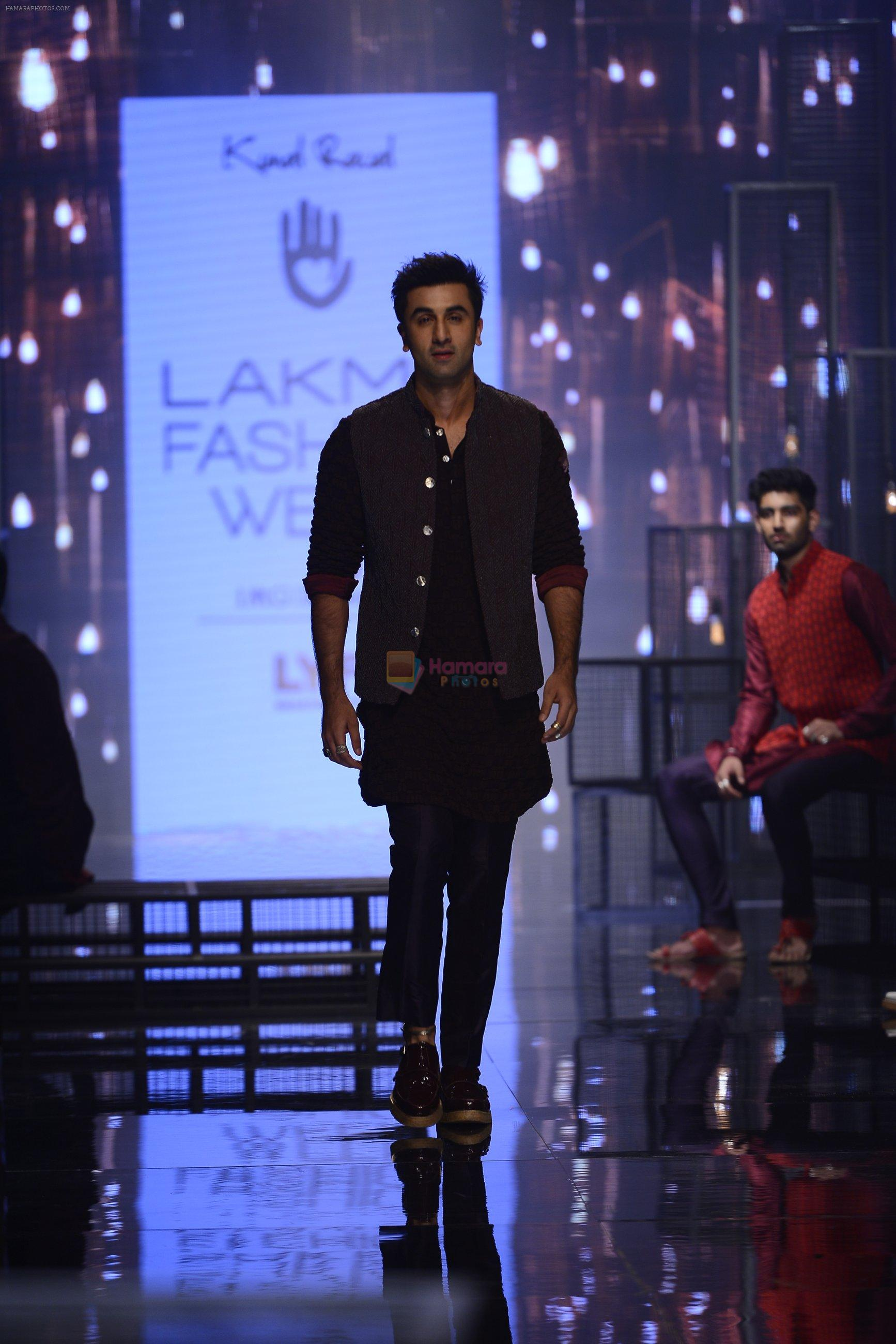Ranbir Kapoor walk the ramp for Kunal Rawal Show at Lakme Fashion Week 2016 on 28th Aug 2016