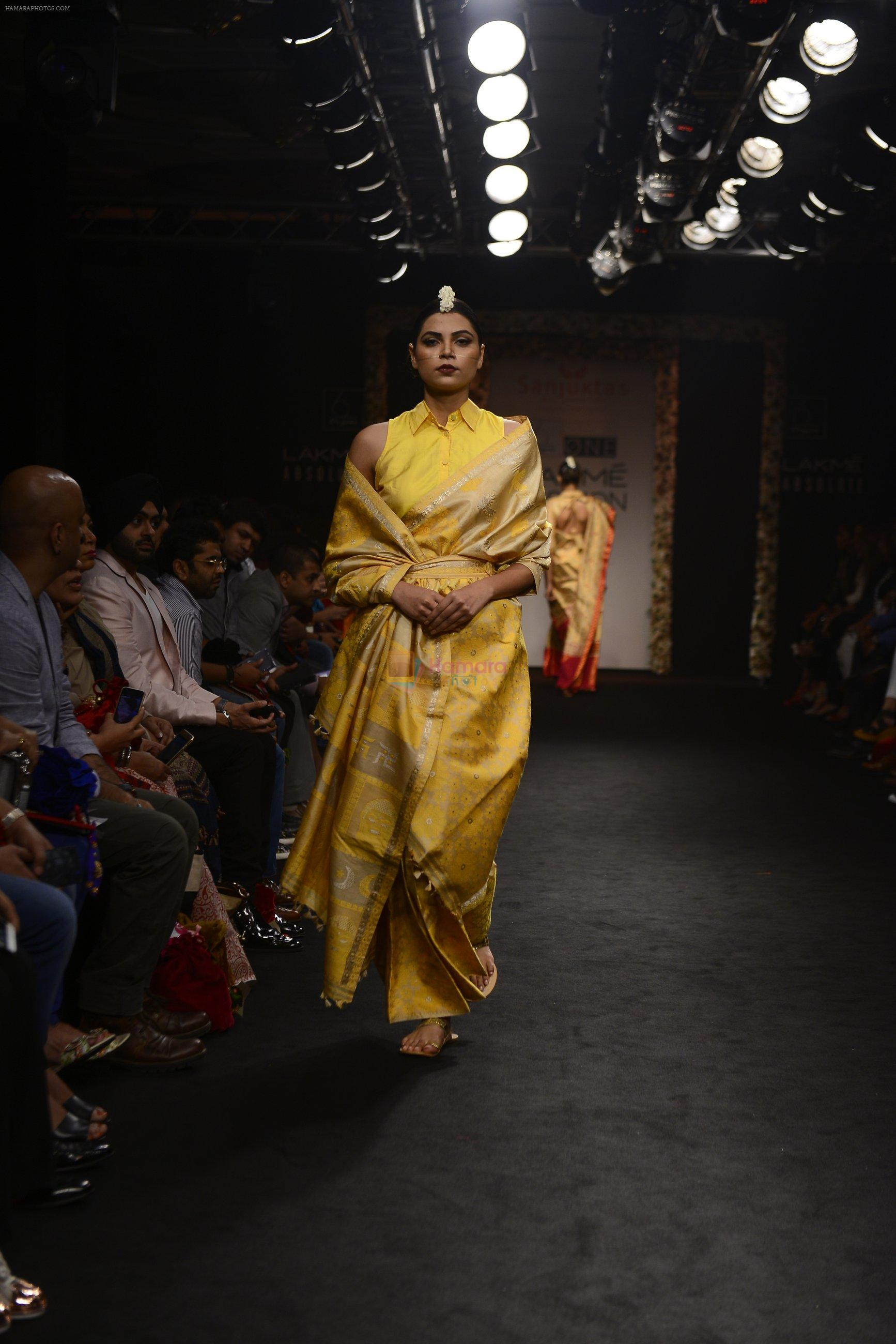 Model walk the ramp for Sanjukta Dutta Show at Lakme Fashion Week 2016 on 28th Aug 2016