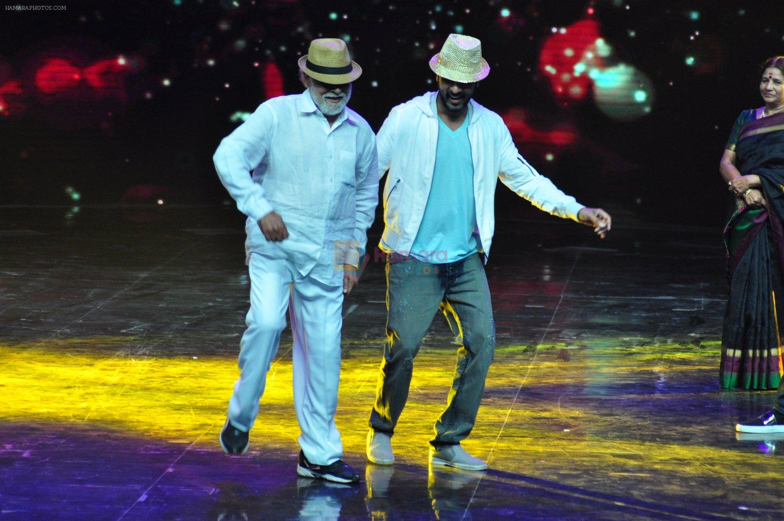 Prabhu Deva with his father on the sets of Star Plus's Dance Plus on 4th Sept 2016