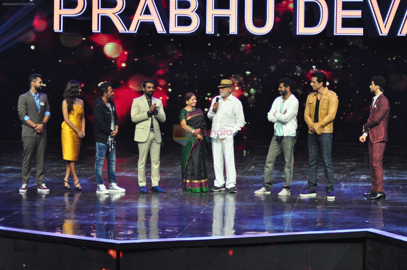 Remo D Souza, Sonu Sood, Prabhu Deva on the sets of Star Plus's Dance Plus on 4th Sept 2016