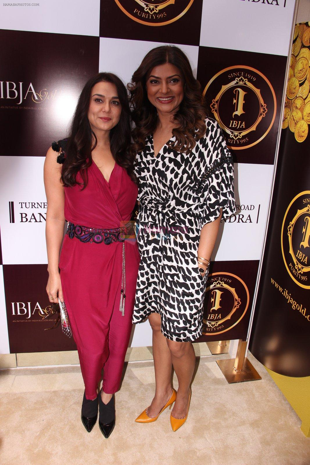 Sushmita Sen, Preity Zinta during the launch of India's first customized gold coin store IBJA Gold, in Mumbai on 7th Sept 2016