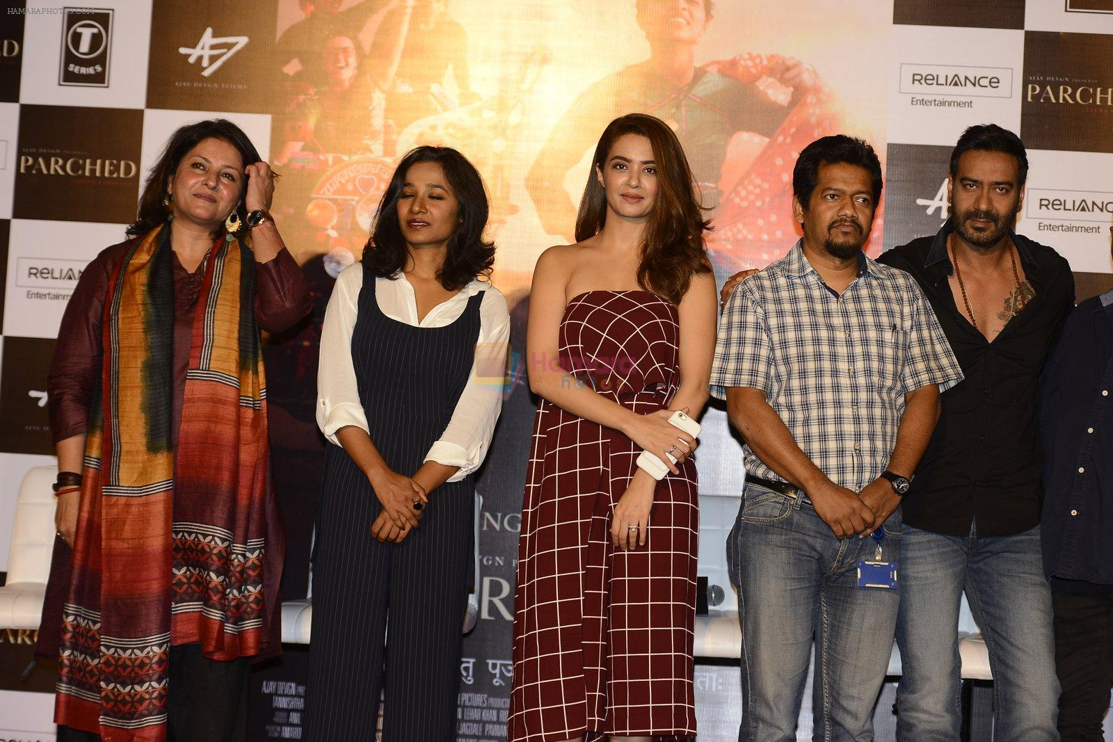 Ajay Devgan, Tannishtha Chatterjee, Surveen Chawla at Ajay devgan's parched press meet