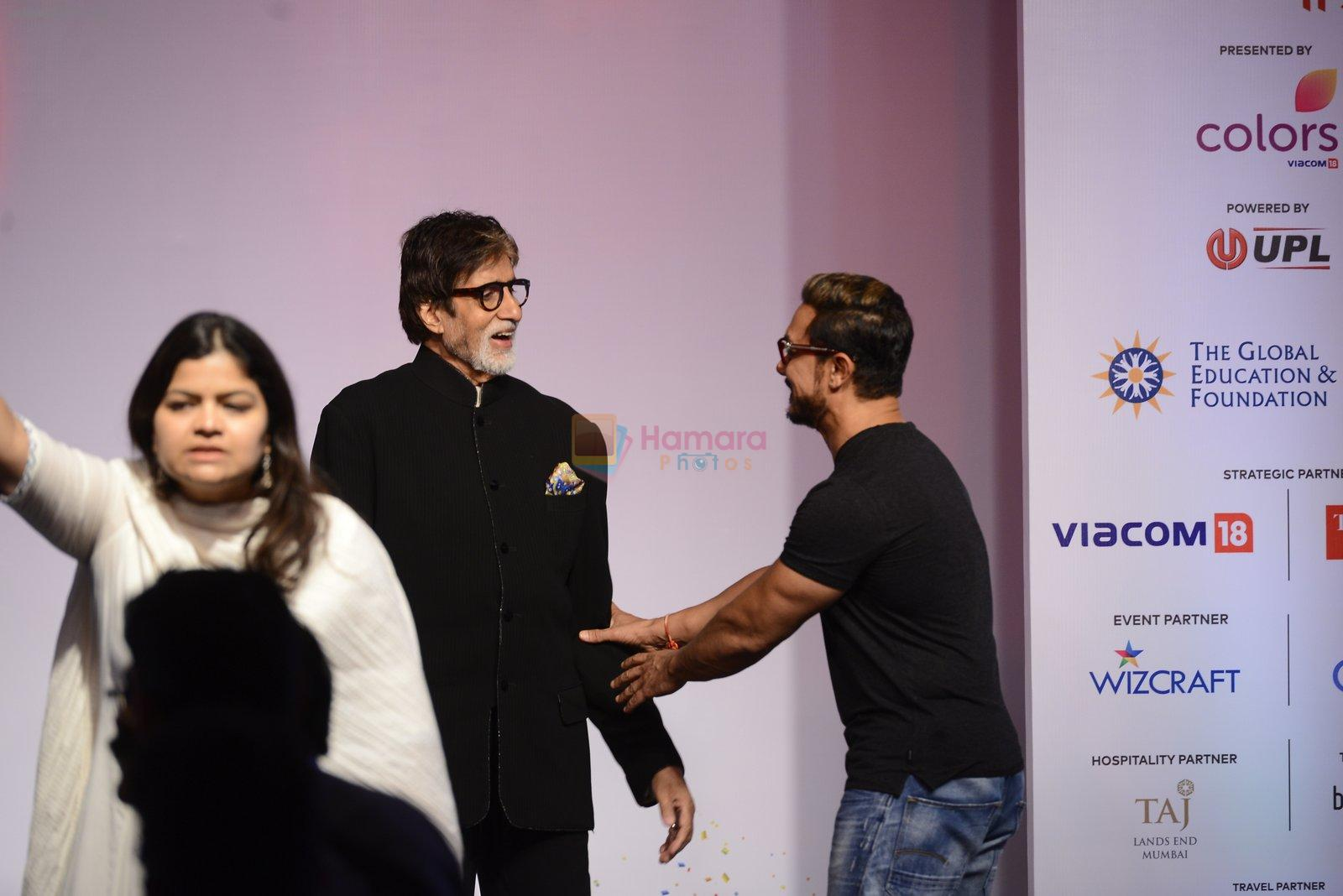 Amitabh Bachchan, Aamir Khan at the launch of Global Citizen India on 11th Sept 2016