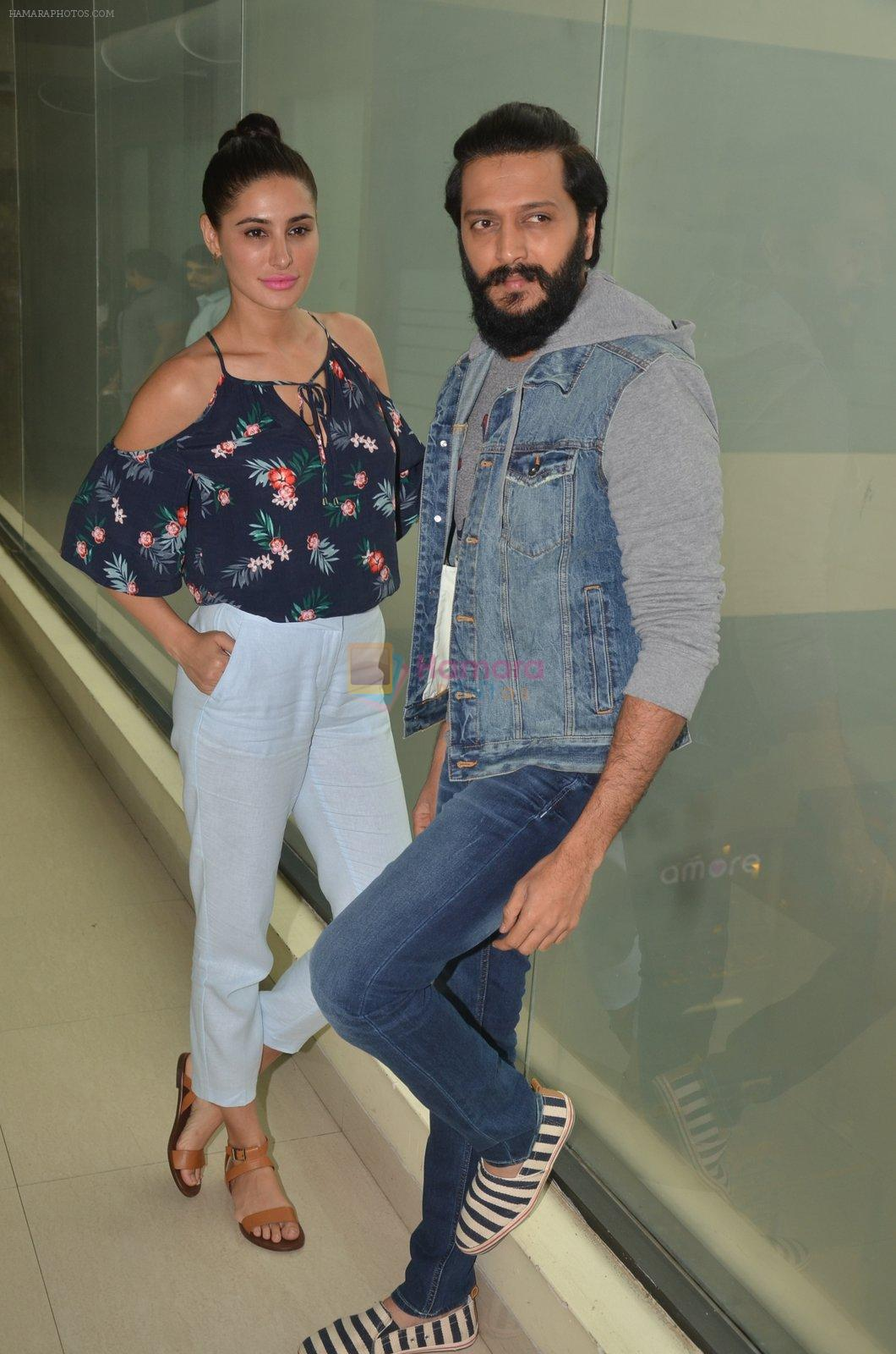 Ritesh Deshmukh and Nargis Fakhri promote their movie Banjo at BIG FM on 12th Sept 2016