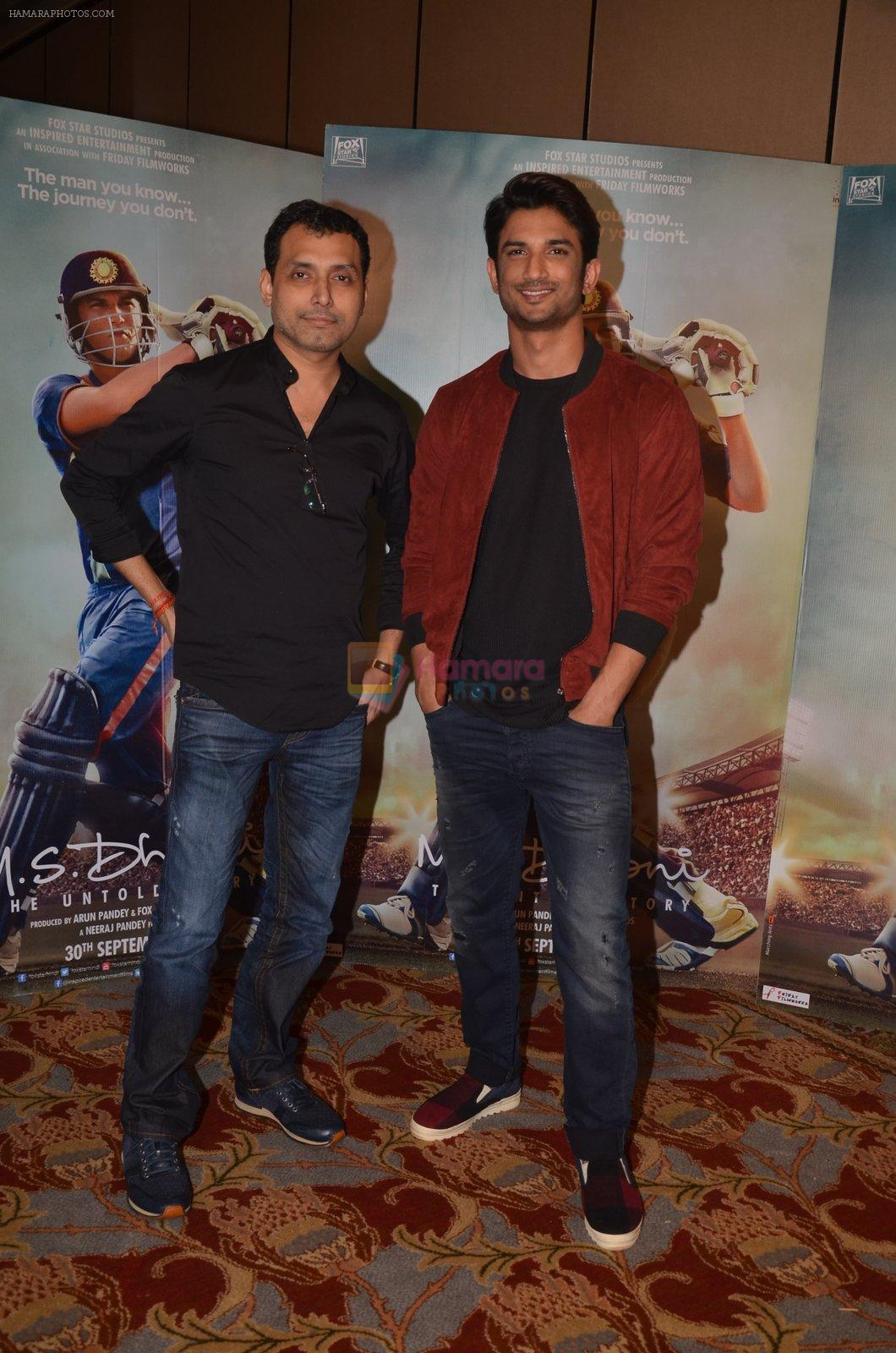 Sushant Singh  Rajput, Neeraj Pandey snapped at the promotion of M S Dhoni movie on 12th Sept 2016