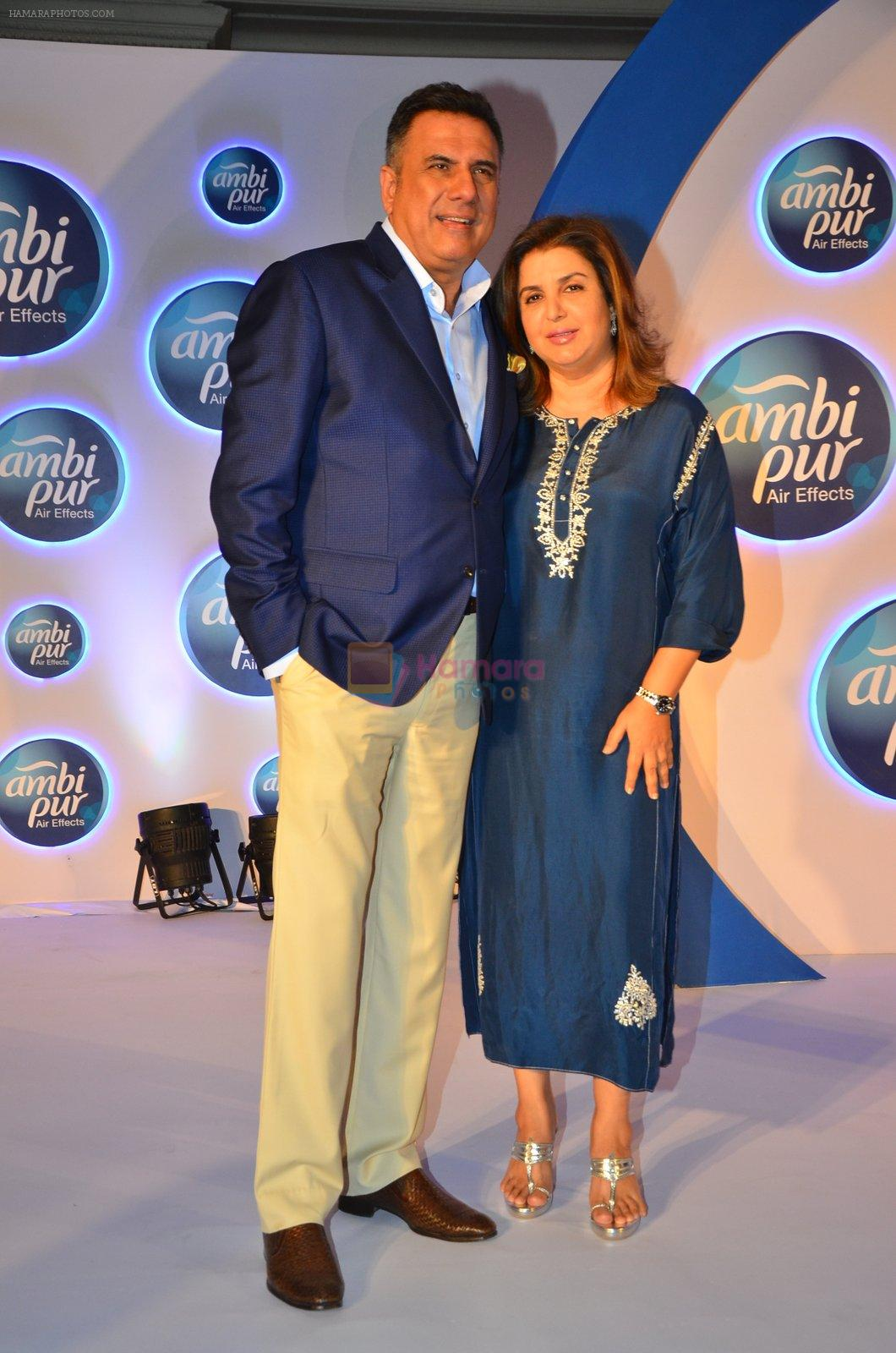 Boman Irani and Farah Khan during a promotional event by Ambi Pur in Mumbai on 13th Sept 2016