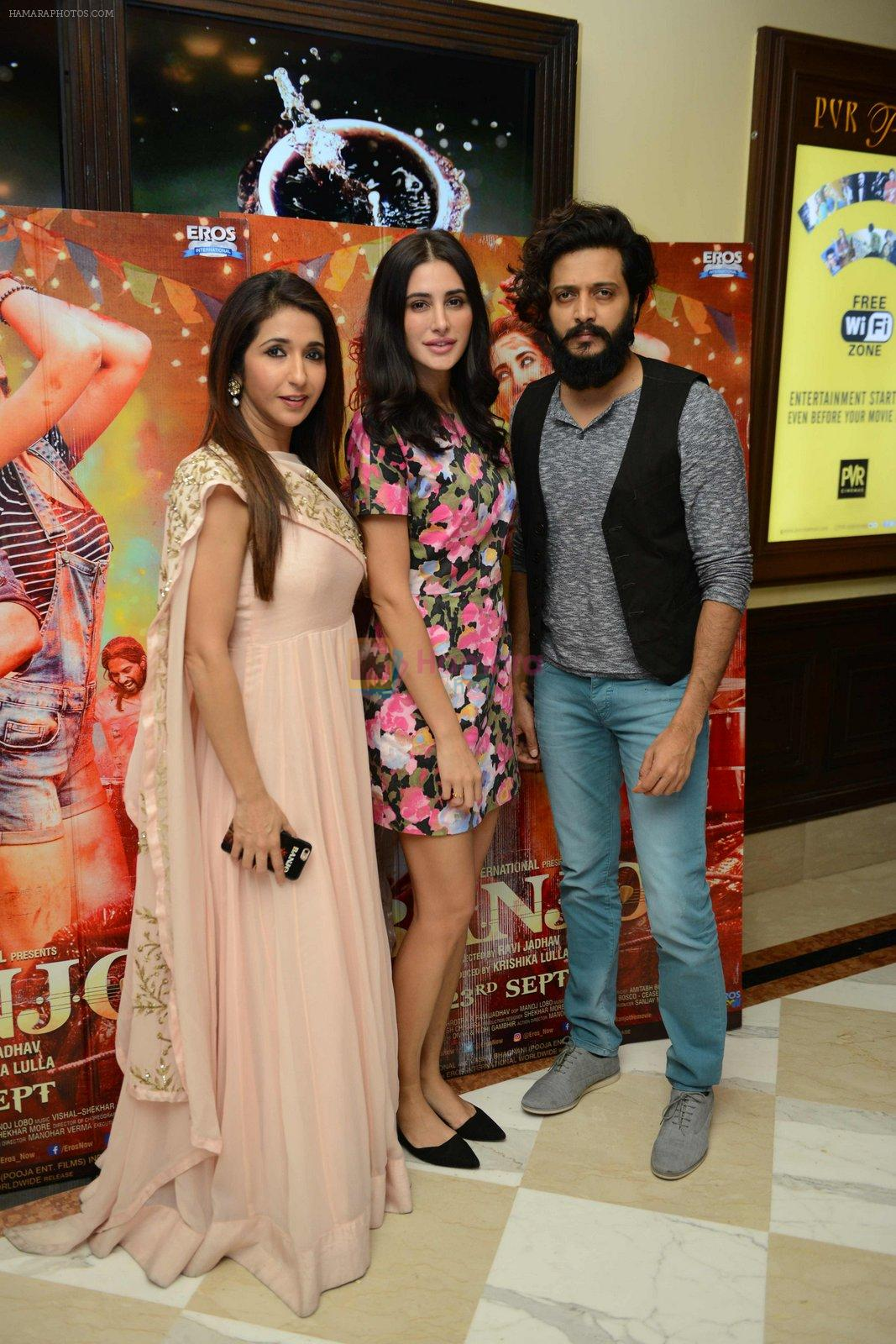Nargis Fakhri, Riteish Deshmukh, Krishika Lulla at Banjo press meet in Delhi on 19th Sept 2016