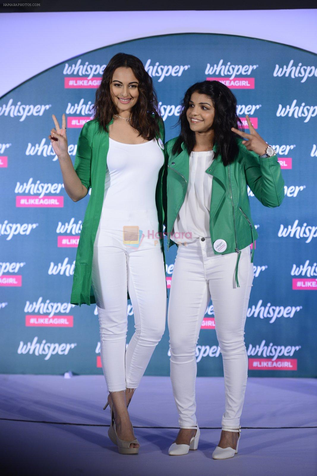 Sonakshi Sinha and Sakshi Malik at Whisper new campaign launch on 20th Sept 2016