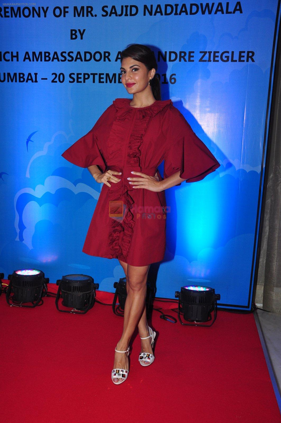 Jacqueline Fernandez at the launch of Sajid Nadiadwala's france honours on 20th Sept 2016