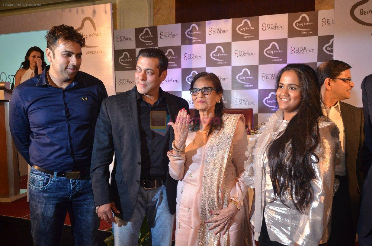 Salman Khan, Salma Khan, Arpita Khan at Being Human jewellery launch on 30th Sept 2016