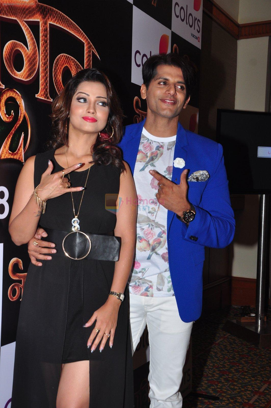 Adaa Khan, Karanvir Bohra at Naagin  2 launch in Mumbai on 4th Oct 2016